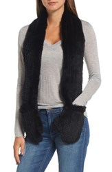 Love Token Women's Genuine Rabbit Fur Scarf With Built In Mittens Black