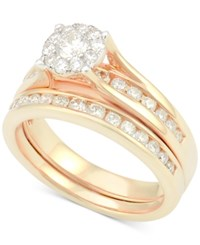 Macy's Diamond Bridal Channel Set 1 Ct. T.W. In 14K White Gold Rose Gold
