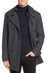 Marc New York Men's By Andrew Cushing Wool Blend Peacoat With Detachable Bib Charcoal