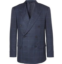 Kingsman Harry's Navy Double Breasted Checked Wool Silk And Linen Blend Suit Jacket