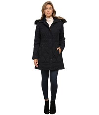 Rainforest Diamond Quilted Puffer With Fur Hood Black Women's Coat