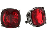 Lauren Ralph Lauren Hide And Chic Faceted Stone Clip Earrings Red Hematite Earring
