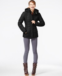 Rampage Hooded Quilted Puffer Coat Black