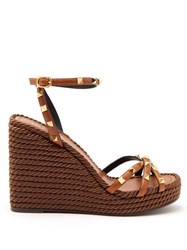 Valentino Rockstud Leather Wedge Sandals Tan