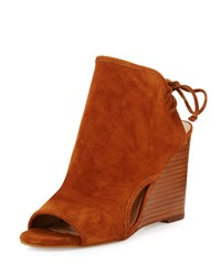Tahari Margo Suede Wedge Sandal Rust