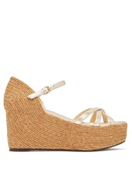 Jimmy Choo Delany 80 Leather Espadrille Wedge Sandals Gold