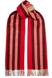 Burberry Fringed Striped Cashmere Scarf Red