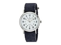 Timex Weekender Denim Slip Thru Strap Dark Blue Silver Tone White Watches