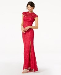 Jump Juniors' Cap Sleeve Sequined Lace Gown Red