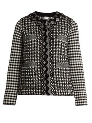 Sonia Rykiel Bead Embellished Textured Knit Jacket Black White