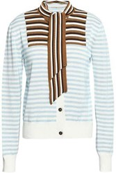Marco De Vincenzo Striped Knitted Cotton Cardigan Light Blue