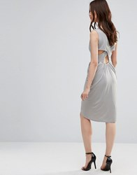Wal G Dress With Rouched Skirt And Cross Back Gray