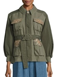 Leur Logette Sequin Military Jacket Khaki Green