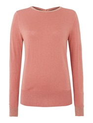 Biba Button Back Sparkle Crew Neck Jumper Pink
