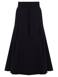 Gabriela Hearst Spencer Flared Wool Blend Skirt Navy