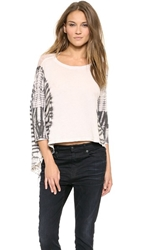 Raquel Allegra 3 4 Sleeve Cocoon Shirt Tie Dye Black And White