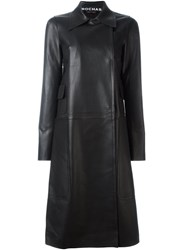 Rochas Double Breasted Leather Coat Black
