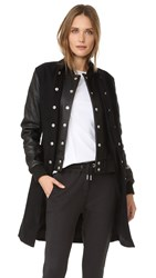 Oak Long Double Front Varsity Jacket Black Black