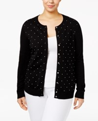 Karen Scott Plus Size Printed Cardigan Deep Blck White Combo