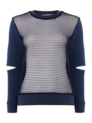 Little White Lies Long Sleeves Crew Neck Cutout Knit Sweater Navy