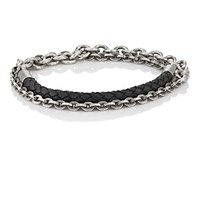 Title Of Work Leather Cord And Cable Chain Double Wrap Bracelet Black