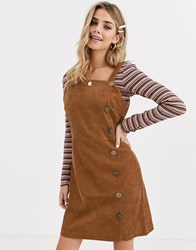 Qed London Button Front Cord Dress In Tan