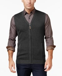 Tasso Elba Men's Big And Tall Zip Up Texture Vest Only At Macy's Charcoal Combo