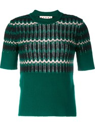 Marni Wool Blend Knit Short Sleeve Top Green