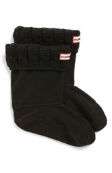 Hunter Original Short Cable Knit Cuff Welly Boot Socks Black