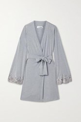 I.D. Sarrieri Lace Trimmed Modal Blend Robe Light Gray