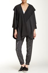 Central Park West The Stone Open Kaftan Hoodie Black