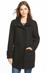 Women's Kenneth Cole New York Stand Collar Wool Blend Twill Coat Black