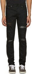 Saint Laurent Black Studded Low Waisted Skinny Jeans