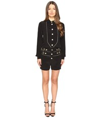 Balmain Embellished Button Playsuit Black