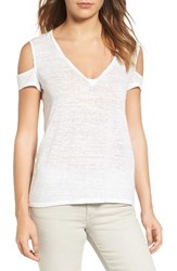 Pam And Gela Women's Cold Shoulder Tee White