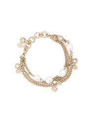 Alexander Mcqueen Faux Pearl And Crystal Bracelet Metallic