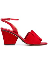 Paul Andrew Open Toe Ruffle Sandals Red