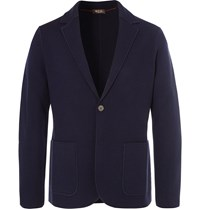 Loro Piana Navy Slim Fit Unstructured Waffle Knit Virgin Wool Blazer Blue