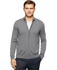 Calvin Klein Full Zip Cardigan Sweater Field Grey