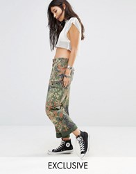 Milk It Vintage High Waist Relaxed Fit Military Trousers In Camo Khaki Green
