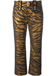 Kenzo Tiger Stripe Cropped Trousers Metallic