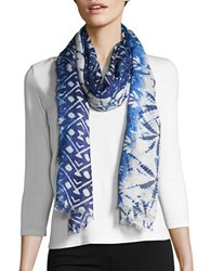 Bindya Fringed Multi Print Scarf Blue