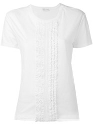Red Valentino Lace Short Sleeved T Shirt Women Cotton Polyamide Xs White