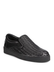 Bottega Veneta Intrecciato Leather Slip On Shoes Atlantico Black