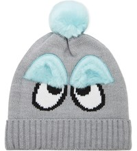 Mini Cream Furry Eyes Beanie Grey
