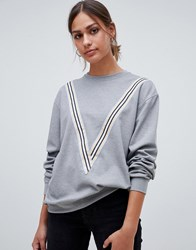 Minimum Moves By Sporty Stripe Sweatshirt Grey Melange