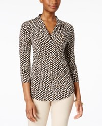 Charter Club 3 4 Sleeve V Neck Top Only At Macy's Black Combo