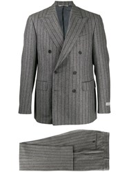 Canali Two Piece Striped Suit Grey