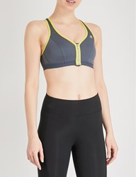 Shock Absorber Zipped Reflective Stretch Jersey Sports Bra Grey Yellow