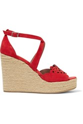 Tabitha Simmons Clem Laser Cut Suede Wedge Sandals Red